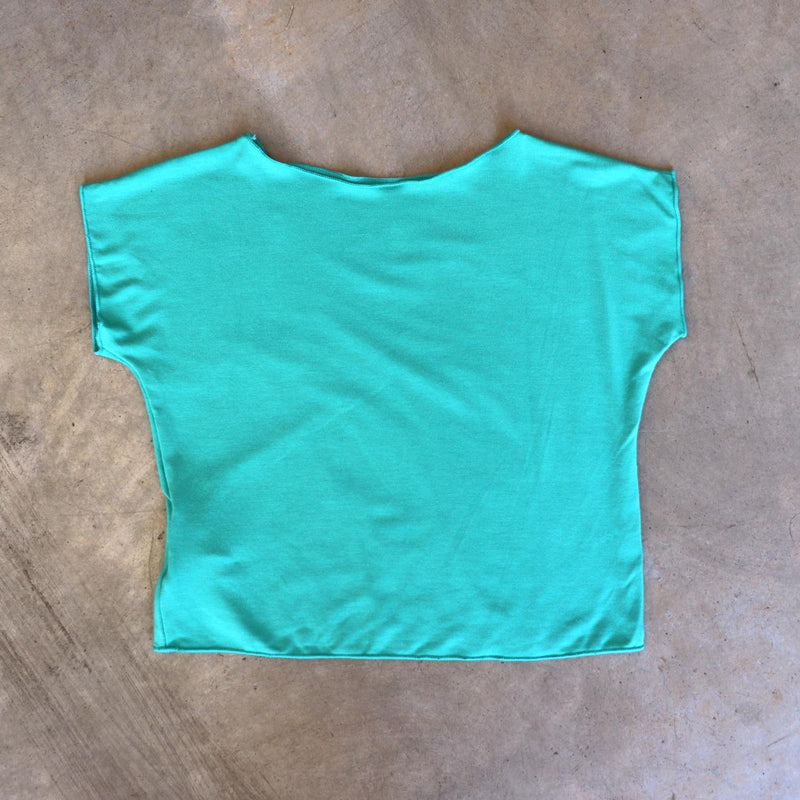 Girls summer square cut, plain t-shirt basic top. Sizes to fit newborns, toddlers, kids and  tweens up to 10 years old. Ethically handmade with soft, stretch bamboo spandex. Mint