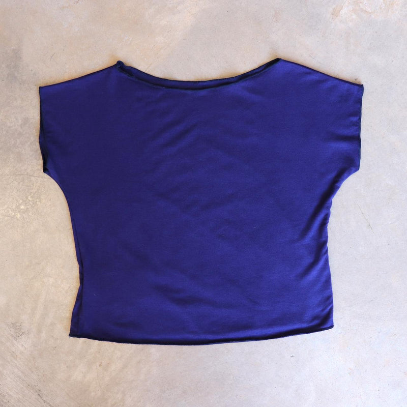 Girls summer square cut, plain t-shirt basic top. Sizes to fit newborns, toddlers, kids and  tweens up to 10 years old. Ethically handmade with soft, stretch bamboo spandex. Royal Blue
