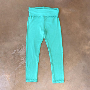 Girls and boys full length legging tights with wide, yoga foldover waistband. Comfy fit and great layer. Sizes to fit newborns, toddlers, kids and tweens up to 10 years old. Ethically handmade with soft, stretch bamboo spandex. Mint Green
