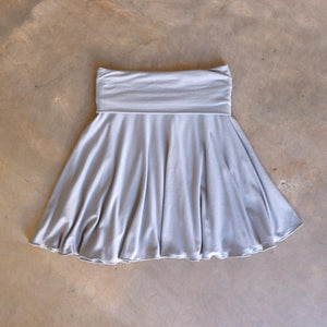 Girls full circle skirt with wide, yoga foldover waistband. Comfy fit and great for ballet class. Sizes to fit newborns, toddlers, kids and tweens up to 10 years old. Ethically handmade with soft, stretch bamboo spandex. Silver Grey