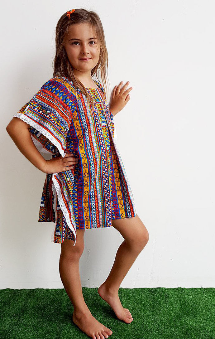 Girls Cotton Beach Kaftan Dress Top Peacock Print Kobomo