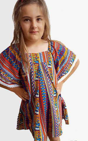 Cool + easy girls summer beach kaftan dress in peacock colours. A festive + fun beach over up for toddlers to tweens.