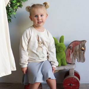 Girls Bunny Rabbit print sweater jumper. Neutral coloured 100% natural cotton.