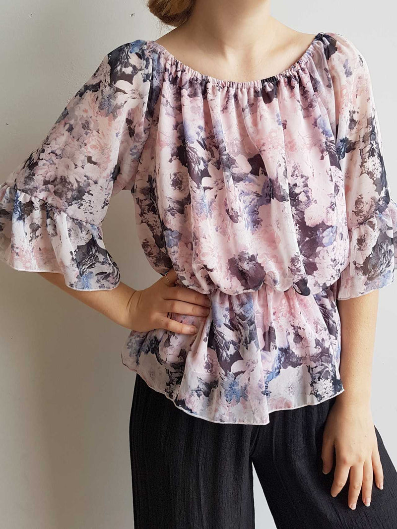 Give Me the Night Blouse Top with Ruffled Chiffon Sleeves in Floral pink.