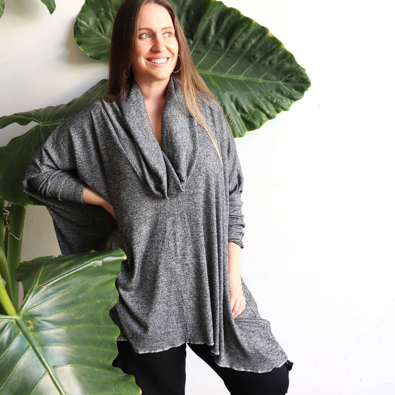 Limited edition Glider Poncho Knit Top by KOBOMO. Handmade and plus size design.