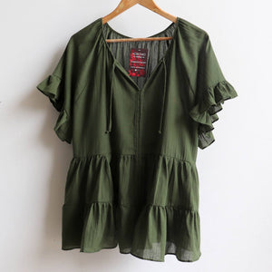 Flowing free size white cotton blouse perfect for our hot Australian summer season. Plus size style. Banana Leaf Green.