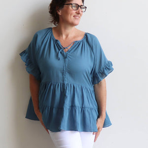 Flowing free size white cotton blouse perfect for our hot Australian summer season. Plus size style. Denim Blue.