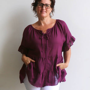 Flowing free size white cotton blouse perfect for our hot Australian summer season. Plus size style. Grape.