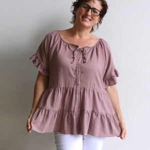 Flowing free size white cotton blouse perfect for our hot Australian summer season. Plus size style. Mushroom.