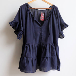 Flowing free size white cotton blouse perfect for our hot Australian summer season. Plus size style. Navy.