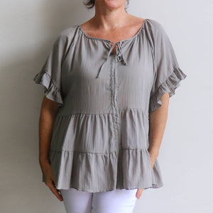 Flowing free size white cotton blouse perfect for our hot Australian summer season. Plus size style. Stone.
