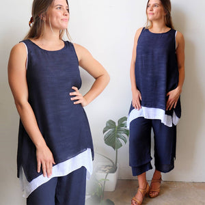 Light + floaty womens contrast layer tunic summer sleeveless top. Navy + white.