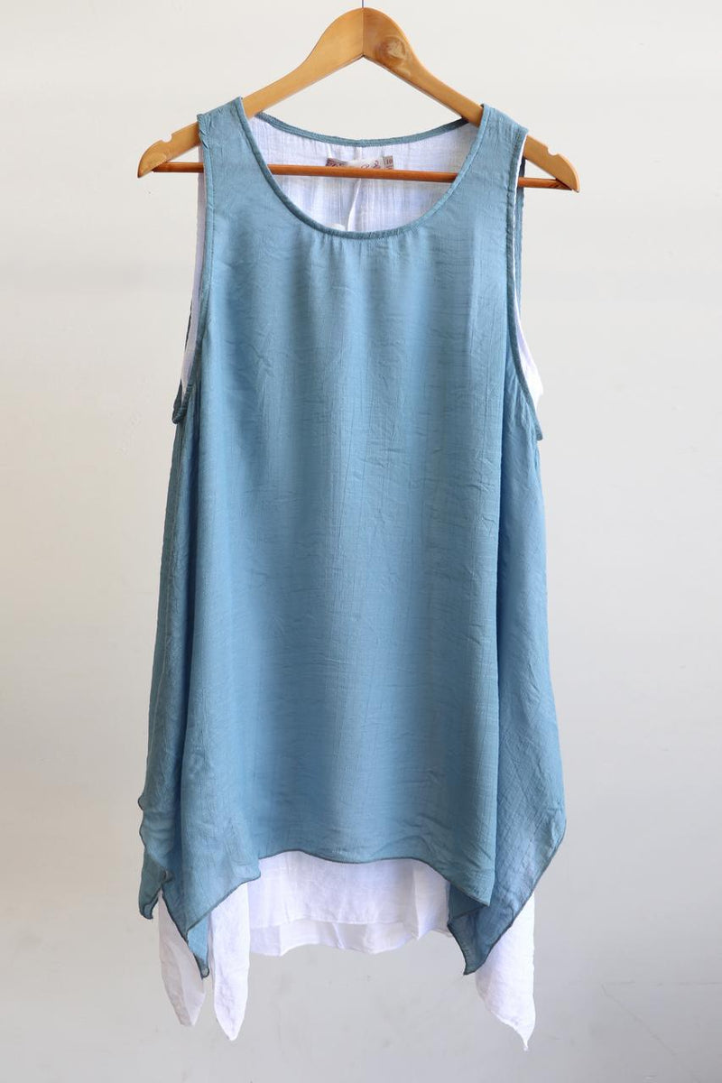 Light + floaty womens contrast layer tunic summer sleeveless top. Denim + white.