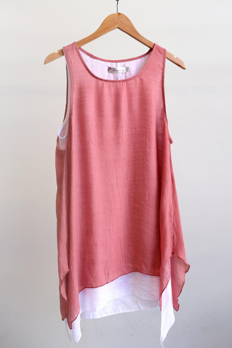 Light + floaty womens contrast layer tunic summer sleeveless top. Rose Pink + white.