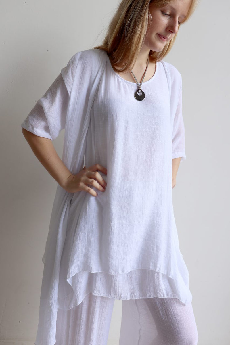 Light + floaty womens contrast layer tunic summer sleeveless top. White.