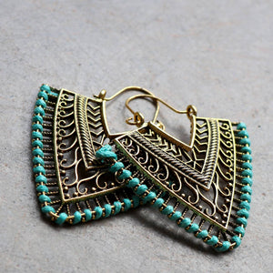 Brass filigree earrings with linen thread colour wrap details. Arrow-Turquoise.