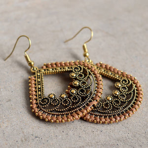Brass filigree earrings with linen thread colour wrap details. Tear-Drop - Tan.