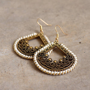 Brass filigree earrings with linen thread colour wrap details. Tear-Drop -White.