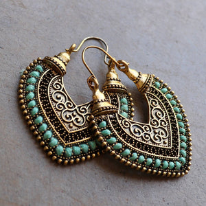 Brass filigree earrings with linen thread colour wrap details. Heart-Turquoise.