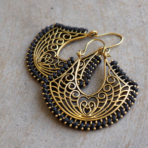 Brass filigree earrings with linen thread colour wrap details. Spade-Black.