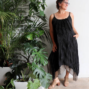 Long, layered, free-flowing summer maxi dress made with 100% cotton.  Free size style that fits well on a bust up to 120cm.  Black.