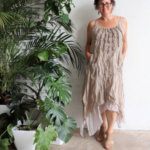 Long, layered, free-flowing summer maxi dress made with 100% cotton.  Free size style that fits well on a bust up to 120cm.  Sand Beige.