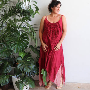Long, layered, free-flowing summer maxi dress made with 100% cotton.  Free size style that fits well on a bust up to 120cm.  Sangria.