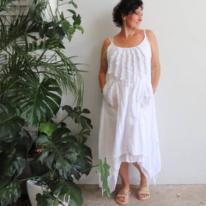 Long, layered, free-flowing summer maxi dress made with 100% cotton.  Free size style that fits well on a bust up to 120cm.  White.