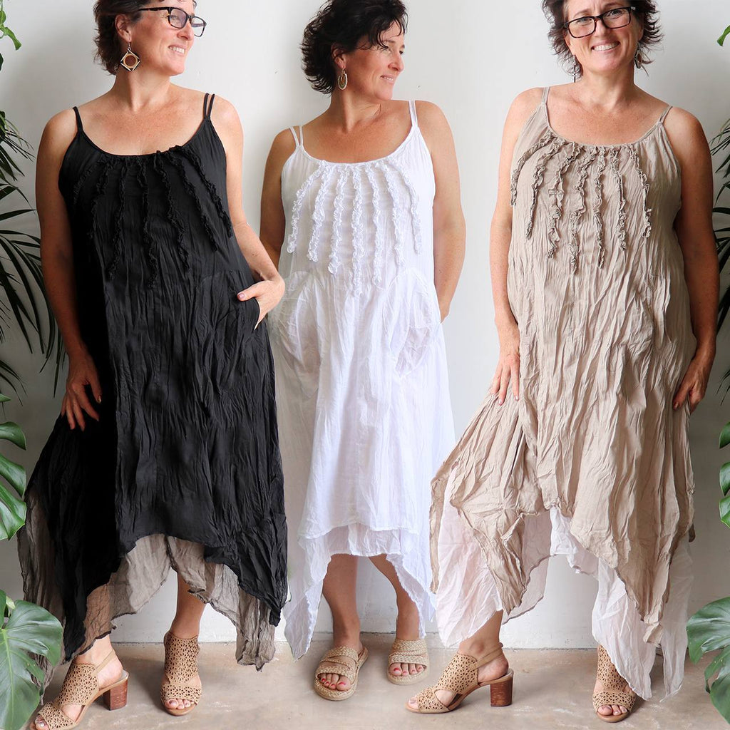 Long, layered, free-flowing summer maxi dress made with 100% cotton.  Free size style that fits well on a bust up to 120cm.