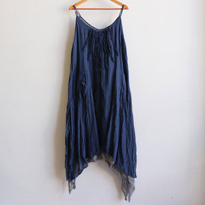 Long, layered, free-flowing summer maxi dress made with 100% cotton.  Free size style that fits well on a bust up to 120cm.  Navy Blue.