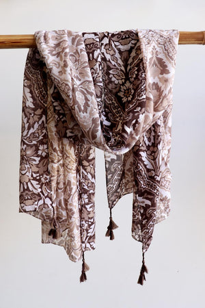 Gypsy Woman Scarf manufactured with soft and light cotton/poly fabric with corner tassels.  Wonderfully oversized and measuring 180cm x 87cms. Coffee Brown,