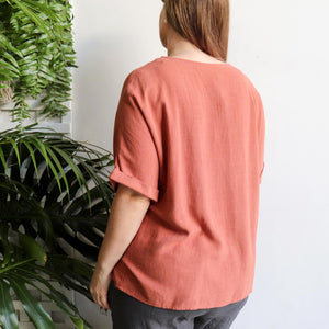 Hamilton Top a short sleeved button through blouse. Perfect summer style women's top created in a quality linen and viscose blend. Sizes 8-18. Rose.