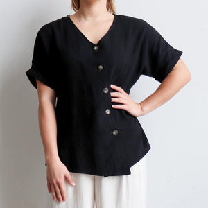 Hamilton Top a short sleeved button through blouse. Perfect summer style women's top created in a quality linen and viscose blend. Sizes 8-18. Black.