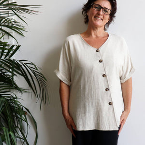 Hamilton Top a short sleeved button through blouse. Perfect summer style women's top created in a quality linen and viscose blend. Sizes 8-18. Natural.