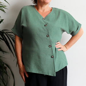 Hamilton Top a short sleeved button through blouse. Perfect summer style women's top created in a quality linen and viscose blend. Sizes 8-18. Sage.