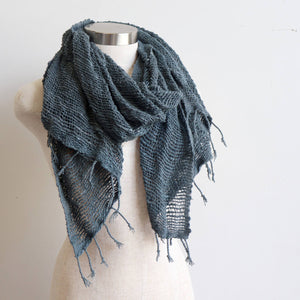 Winter scarf handmade with natural fibre. Storm Grey.