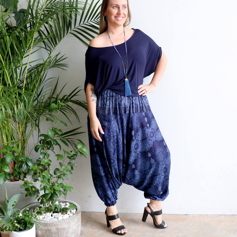 Womens Harem Pants in exotic mystic print are a loose and comfortable elastic waist pull on plus size style.