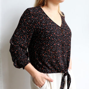 Honey Honey long sleeve blouse, great floral print women's top for work or casual wear. True to size fit with a tie front at the hem. Made with easy care rayon. Midnight.
