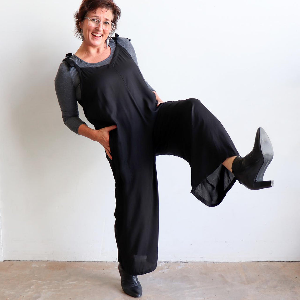 In Cahoots Jumpsuit - Classic black overalls designed for small to plus sizes. Karen.