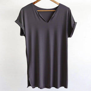 In The Moment T-shirt made in bamboo is the short-sleeved women's basic top. Charcoal grey. Hanger view.
