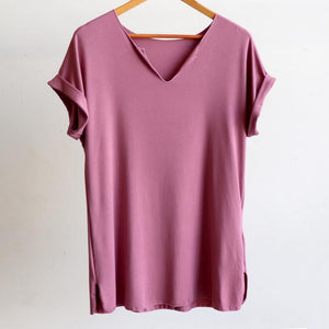 In The Moment T-shirt made in bamboo is the short-sleeved women's basic top. Heather pink. Hanger view.