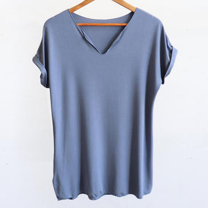 In The Moment T-shirt made in bamboo is the short-sleeved women's basic top. Denim blue. Hanger view.