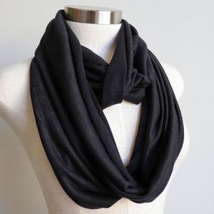 Infinity Scarf Snood Knit, cosy and comfy for all day wear. Ethically produced + handmade in a cotton/poly fabric. Measures 50cm x 170cm around. Black.