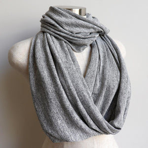 Infinity Scarf Snood Knit, cosy and comfy for all day wear. Ethically produced + handmade in a cotton/poly fabric. Measures 50cm x 170cm around. Silver.