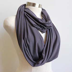 Infinity Scarf Snood in Bamboo - women's winter accessory ethically made by KOBOMO. Charcoal Grey.