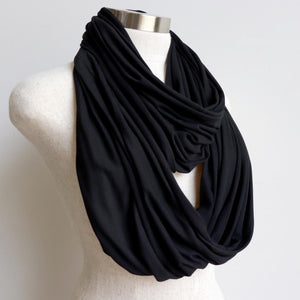 Infinity Scarf (Snood) in luxe bamboo rayon stretch fabric from our KOBOMO On The Go Collection. Black.