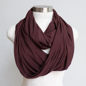 Infinity Scarf (Snood) in luxe bamboo rayon stretch fabric from our KOBOMO On The Go Collection. Chocolate Brown.