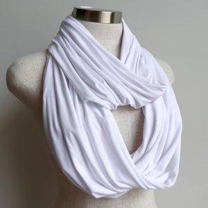 Infinity Scarf (Snood) in luxe bamboo rayon stretch fabric from our KOBOMO On The Go Collection. White.