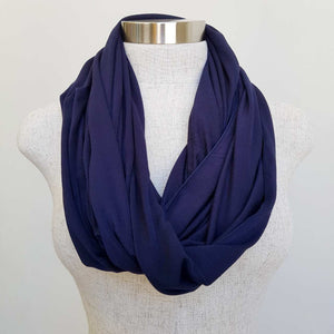 Infinity Scarf (Snood) in luxe bamboo rayon stretch fabric from our KOBOMO On The Go Collection. Navy Blue.