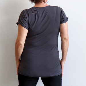 In The Moment T-shirt made in bamboo is the short-sleeved women's basic top. Charcoal. Back view.